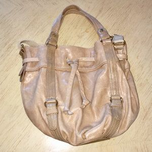 The Sak Taupe Leather Drawstring Hobo Bag
